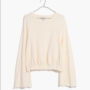 Madewell Texture & Thread Smocked Bell Sleeve Top